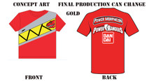 Power Morphicon 2016 Convention Gold Power Rangers Dino Charge T-Shirt Medium