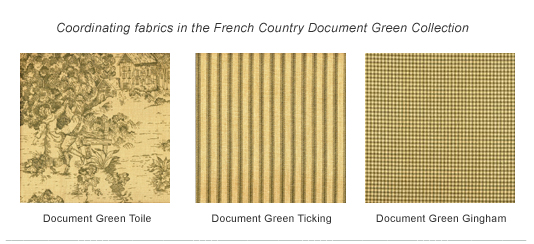 French Country Document Green Ticking Stripe Duvet Cover