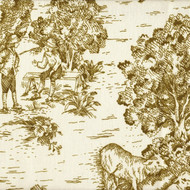 French Country Chartreuse Toile Gathered Bedskirt