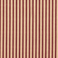 French Country Crimson Ticking Pinch-Pleated Curtain Panels
