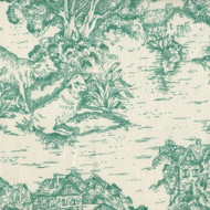 French Country Pool Green Toile Round Tablecloth with Topper