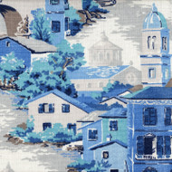 Venice Lagoon Blue Toile Gathered Bedskirt