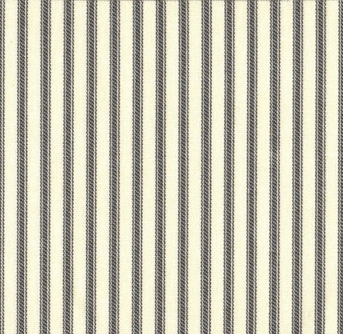 French Country Brindle Gray Ticking Pinch Pleated Curtain