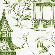 Pagodas Jade Green & Gray Oriental Toile Shower Curtain