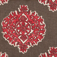 Madras Coral and Brown Medallion Shower Curtain