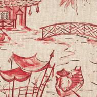 Pagodas Coral Oriental Toile Shower Curtain
