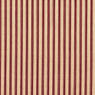 French Country Crimson Red Ticking Pinch-Pleated Patio Door Curtain Panels