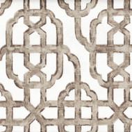 Imperial Bisque Gray Lattice Gathered Bedskirt