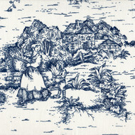 French Country Nautical Blue Toile Pinch-Pleated Patio Door Curtain Panels