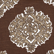 Madras Cafe Brown Medallion Pinch-Pleated Curtain Panels