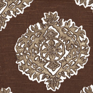 Madras Cafe Brown Medallion Gathered Bedskirt