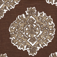 Madras Cafe Brown Medallion Round Tablecloth with Topper