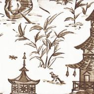 Pagodas Cafe Brown Oriental Toile Decorative Pillow
