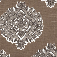 Madras Bisque Gray & Taupe Medallion Gathered Bedskirt