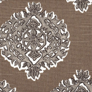 Madras Bisque Gray & Taupe Medallion Scallop Valance, Lined