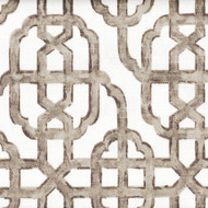 Imperial Bisque Gray Lattice Tab Top Curtain Panels