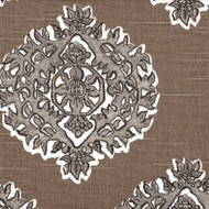 Madras Bisque Gray & Taupe Medallion Pinch-Pleated Curtain Panels