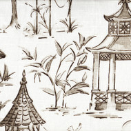Pagodas Bisque Gray Oriental Toile Gathered Bedskirt