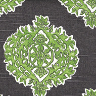 Madras Jade Green & Gray Medallion Pinch-Pleated Curtain Panels