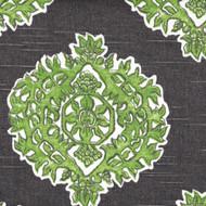 Madras Jade Green & Gray Medallion Gathered Bedskirt