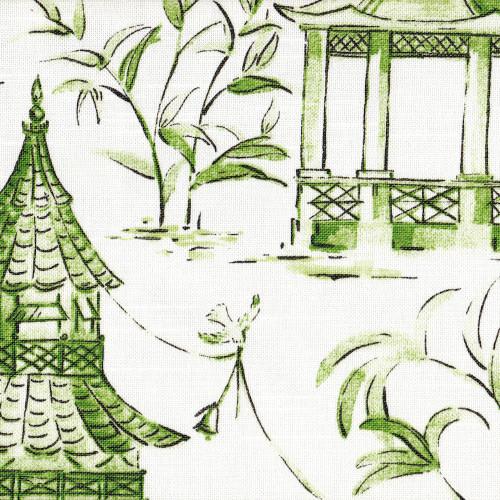 Pagodas Jade Green Amp Gray Oriental Toile Round Tablecloth