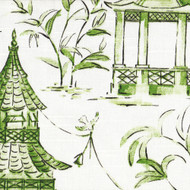 Pagodas Jade Green & Gray Oriental Toile Bradford Valance
