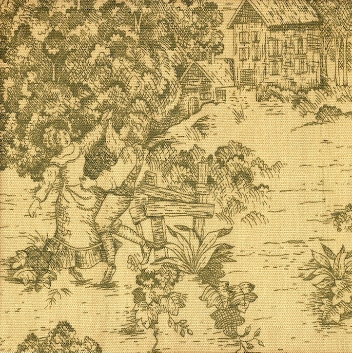 French Country Document Green Toile Gathered Bedskirt