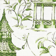 Pagodas Jade Green & Gray Oriental Toile Pinch-Pleated Curtain Panels
