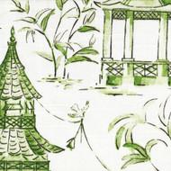 Pagodas Jade Green & Gray Oriental Toile Tailored Bedskirt