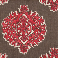 Madras Coral Medallion Round Tablecloth with Topper