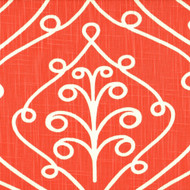 Barcelona Salmon Scroll Pinch-Pleated Curtain Panels