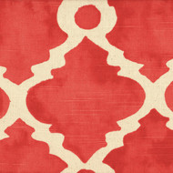 Madrid Salmon Spanish Tile Tab Top Curtain Panels