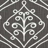 Barcelona Summerland Gray Scroll Tailored Tier Curtain Panels