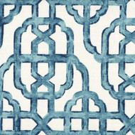 Imperial Seaside Blue Lattice Pinch-Pleated Curtain Panels