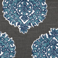 Madras Seaside Blue & Gray Medallion Empress Swag Valance, Lined