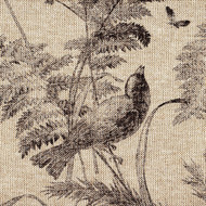 Bird Toile Fossil Brown Rod Pocket Curtain Panels