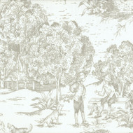 French Country Pebble Taupe Toile Pinch-Pleated Patio Door Curtain Panels
