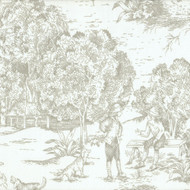French Country Pebble Taupe Toile Rod Pocket Curtain Panels