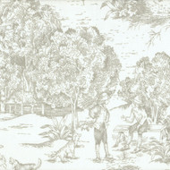 French Country Pebble Taupe Toile Tab Top Curtain Panels