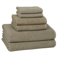 Urbane Graphite Gray Ribbed Turkish Cotton Towel Set