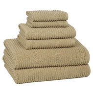Urbane Latte Ribbed Turkish Cotton Towel Set