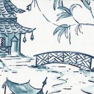 Pagodas Seaside Blue Oriental Toile Round Tablecloth
