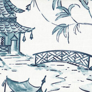 Pagodas Seaside Blue Oriental Toile Bolster Pillow