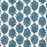 Zira Seaside Blue Medallion Round Tablecloth with Topper