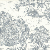 French Country Dove Gray Toile Empress Swag Valance, Lined