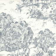 French Country Dove Gray Toile Gathered Bedskirt