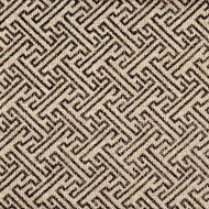 Ikat Fretwork Fossil Brown Round Tablecloth with Topper