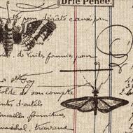 Antique Ledger Fossil Brown French Script Gathered Bedskirt