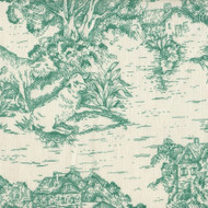 French Country Pool Green Toile Shower Curtain with Banded Bottom