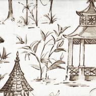 Pagodas Bisque Gray Oriental Toile Neck Roll Pillow